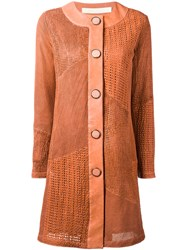 Drome Collarless Leather Coat Orange