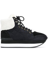 Trussardi Jeans Lace Up Quilted Sneakers Black