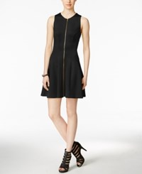 Bar Iii Zip Front Fit And Flare Scuba Dress Only At Macy's Black