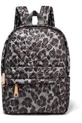 M Z Wallace Mz Metro Leather Trimmed Leopard Print Quilted Ripstop Backpack Black