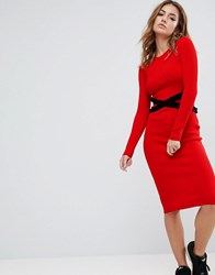 Asos Knitted Ribbed Dress With Corset Detail Red