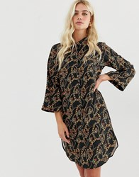Zibi London Chain Patterned Shirt Dress Black