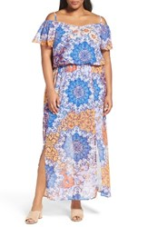 London Times Plus Size Women's Print Cold Shoulder Maxi Dress
