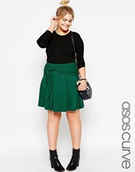 Asos Curve Skater Skirt With Tie Front Forest Green