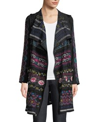 Johnny Was Gyrot Patchwork Embroidered Wrap Black