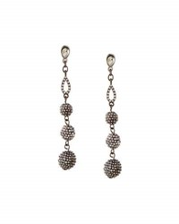 Lydell Nyc Pave Crystal Fireball Multi Drop Earrings Gunmetal