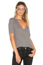 Lna Ribbed Cutout V Tee Gray