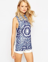 Asos Tunic With High Neck In Floral Print Multi