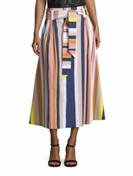 Tanya Taylor Shelby Striped Midi Skirt Rust Multicolor