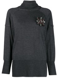 Pinko Embellished Roll Neck Jumper Grey