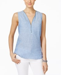 Inc International Concepts Sleeveless Linen Half Zip Top Only At Macy's Chambray