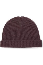 N.Peal Ribbed Cashmere Beanie Plum