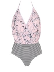 Albertine Camarat Marble And Seersucker Swimsuit
