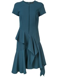 Josie Natori Ruffle Detail Dress Blue