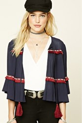 Forever 21 Fringe Trim Open Front Top Navy Brick