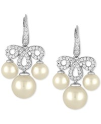 Majorica Sterling Silver Cubic Zirconia Pave And Imitation Pearl Chandelier Earrings White