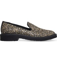 Giuseppe Zanotti Glitter Embellished Leather Loafers Gold