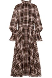 Beaufille Shirred Checked Cotton And Silk Blend Maxi Dress Brown