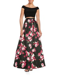 Xscape Evenings Cropped Top And Floral Skirt Set Black Pink