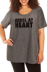 Rebel Wilson X Angels Plus Size Women's Flocked Metallic Knit Tee Silver
