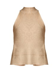 Palmer Harding Open Back Ribbed Cotton And Lurex Blend Top Beige