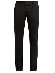 Saint Laurent Repaired Cotton Chino Trousers Black