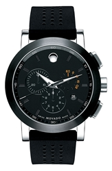 Movado 'Museum' Chronograph Rubber Strap Watch 44Mm Black