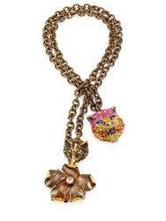 Gucci Cat Fox And Flower Pendant Necklace Gold