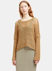 Lauren Manoogian Oversized Open Knit Scoop Neck Sweater Brown