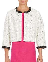 Karl Lagerfeld Textured Open Front Jacket Black Ivory