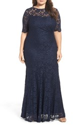 Decode 1.8 Plus Size Women's A Line Stretch Lace Gown
