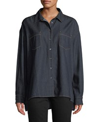 3X1 Joni Button Front Denim Shirt Blue