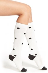 Women's Kensie Polka Dot Knee High Socks Ivory