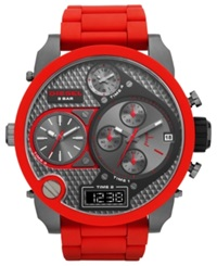 Diesel Watch Men's Analog Digital Red Silicone Wrapped Stainless Steel Bracelet 57Mm Dz7279