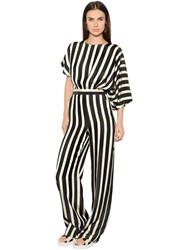 Msgm Striped Viscose Crepe Jumpsuit