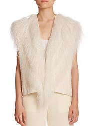 Helmut Lang Lamb Shearling And Knit Vest Black