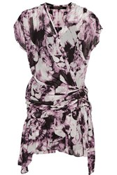 Roberto Cavalli Wrap Effect Ruffled Printed Silk Voile Mini Dress Purple