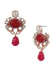 Betsey Johnson Crab And Pearl Drop Earrings Red