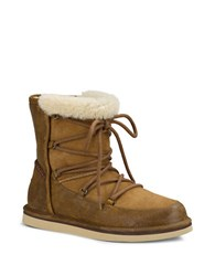Ugg Lodge Leather And Sheepskin Ankle Boots Chestnut