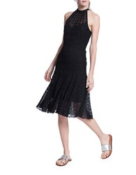 Tracy Reese Halterneck Fit And Flare Dress Black