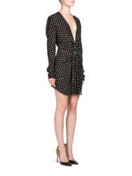 Saint Laurent Polka Dot Mini Dress Black White