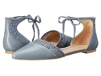 Franco Sarto Shirley Country Blue Leather Women's Dress Flat Shoes