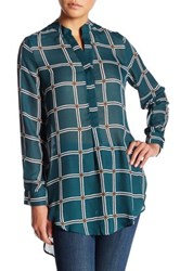 Harlowe And Graham Long Sleeve Hi Lo Button Up Tunic Green