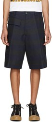 Marni Navy And Black Striped Shorts