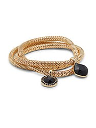 Carol Dauplaise Polished Mesh Chain Bracelet Gold Jet