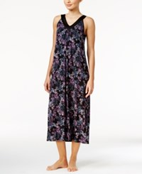 Alfani Satin Trimmed V Neck Printed Knit Nightgown Only At Macy's Black Stamp Florals