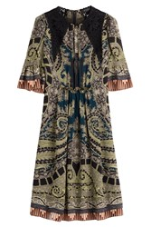 Etro Printed Silk Dress With Embroidery Multicolor