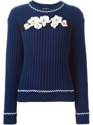 Iceberg Orchid Applique Sweater Blue