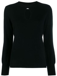 Allude Key Hole Neckline Knitted Top Black