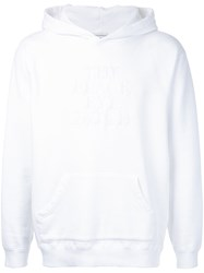 Black Eye Patch Embroidered Logo Hoodie White